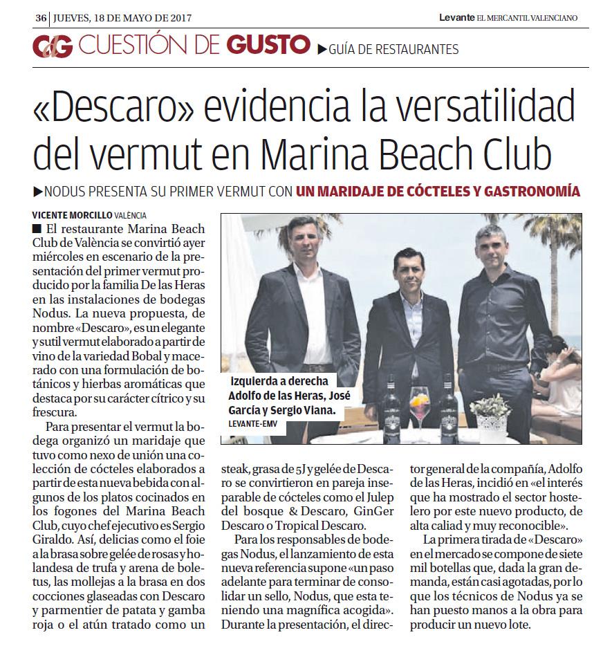 Periódico Levante - Presentación vermut Descaro