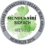 Mundus vini Biofach 2016 - Silver medal