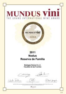 Medalla de oro - Mundus Vini 2016