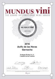 Certificado medalla Plata Mundus Vini 2017